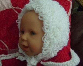 Baby bonnet, baby girl, newbon,loopy hat with ties. Classic style, all colours Made to order