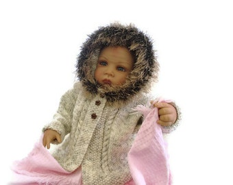 Furry trimmed baby Sweater, knitted hoodie, hooded jacket, baby coat, winter, button through sweater.