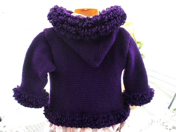 Baby coat, jacket.sweater.hoodie  loopy trimmed Purple warm 24 inch chest