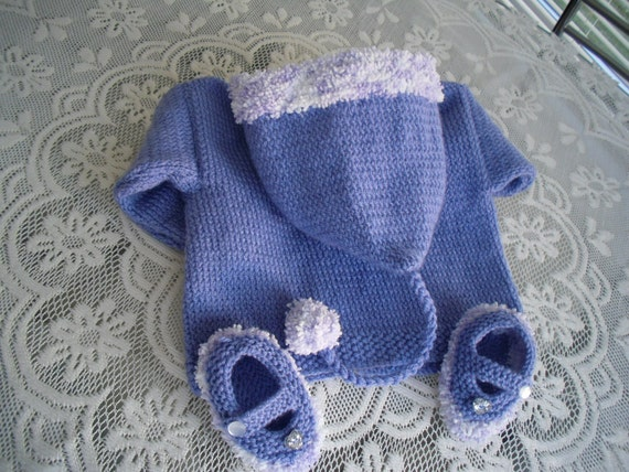 Baby handknit hooded coat  lilac sweater, jacket, hoodie 16inch