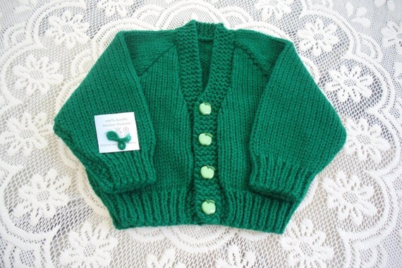 Childs sweater, kelly green unisex cardigan, button front, classic styling, Machine washable