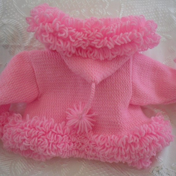Loopy Cardigan Knitting Pattern : Handknit baby coat pink sweater loopy trim hoodie
