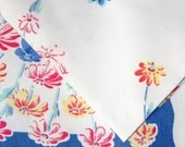Vintage 1950's Print Tablecloth 53 X 49 Rectangle Beautiful Watercolor Daisy Print