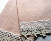 Vintage 1940's Fine Linen Guest Towels Pair of 2 Ecru Lace on Peachy Rose Linen