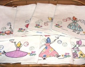Vintage 1940's-50's Hand Applique and Embroidered Bubble Sue Kitchen Towels Set of 7