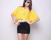 Vintage Shirt 80s Indie Hipster Slouch Yellow Top