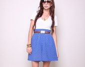 Vintage Shorts 80s High Waisted Indie Hipster Polka Dot Blue and White Shorts