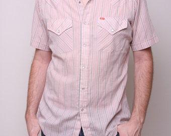 Medium - Vintage Mens Cowboy Shirt 70s Indie Hipster Peach Striped Button Up