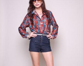 Large / XL - Vintage Blouse 70s Hippy Boho Multi Color Top
