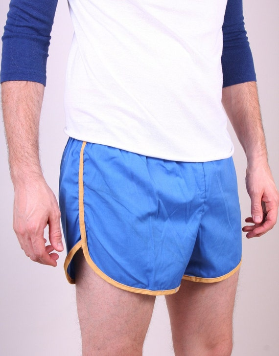 Vintage Mens Swim Shorts 70s Indie Hipster Blue and Yellow