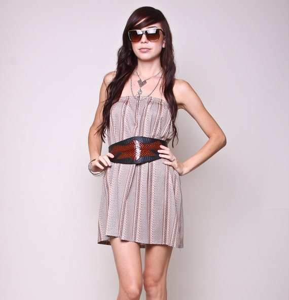 Vintage Mini Dress and Skirt 80s Indie Hipster Two in One High Waisted Skirt and Strapless Mini Dress