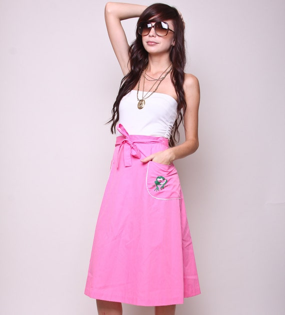 Vintage Skirt 70s Hippie Indie Pink High Waisted Wrap with Pockets