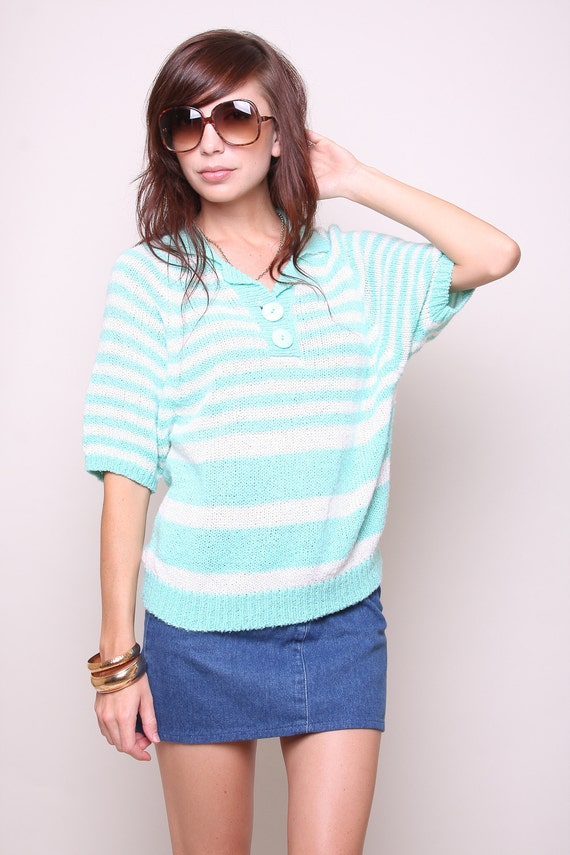 Medium / Large - Vintage Sweater 80s Hipster Indie Aqua and White Striped Shirt