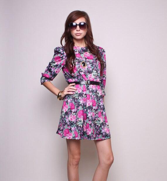 Vintage Mini Dress 80s Hipster Boho Floral Pink and Black High Waisted Dress