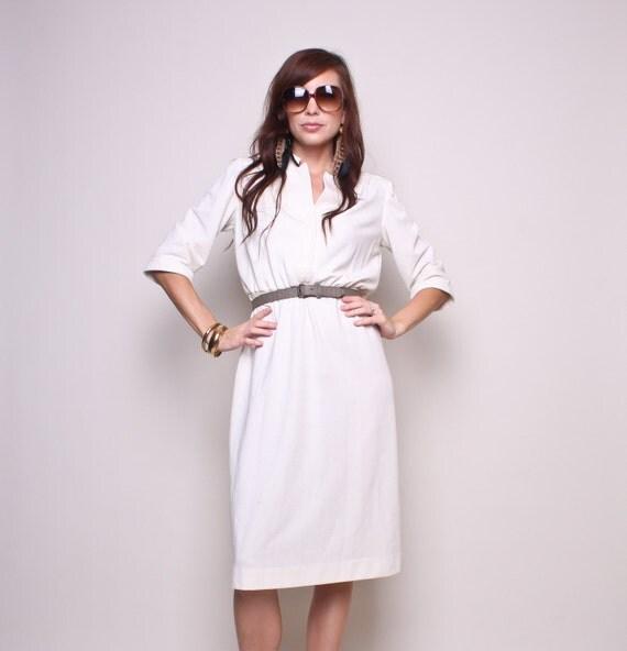 Vintage Dress 70s Hippy Boho Cream High Waisted Dress