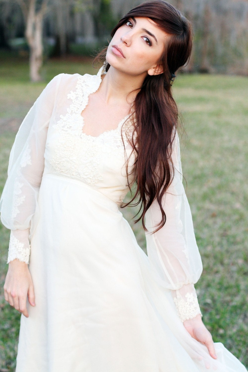 Vintage wedding gown 70s boho hippie lace and sheer wedding Hippie vintage wedding dresses
