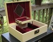 Shabby Cream Jewelry Box With Wine Colored Interior