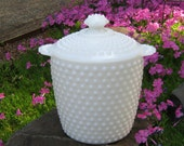 Hobnail Milk Glass Cookie Jar or Wedding Champagne Bucket - Oak Hill Vintage