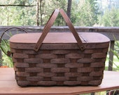 Large Oak Picnic Basket