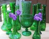 12 Piece Vase Set in Emerald Green