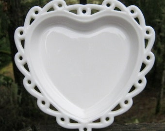 Milk Glass Heart Shaped Dish With Open Lace Edge - Valentine - Oak Hill Vintage