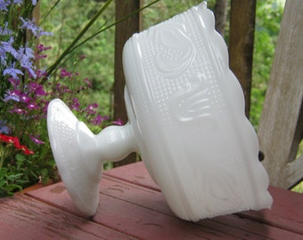 E O Brody White Milk Glass Ornate Compote - Wedding Centerpiece - Oak Hill Vintage