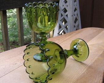 Pair of Teardrop Compotes in Avocado Green - Wedding - Oak Hill Vintage