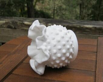 Small Fenton Milk Glass Hobnail Double Crimped Vase - Mini Ball Vase - Oak Hill Vintage