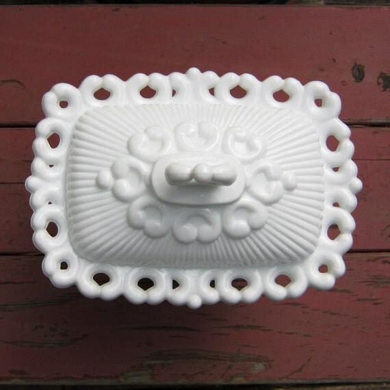 Indiana Glass Co. Lace Edge Covered Candy Dish in Milk Glass