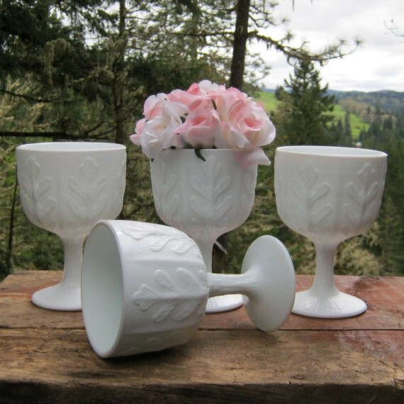 Set of Four Matching Milk Glass Compotes by FTD From the 1970's - Oak Hill Vintage