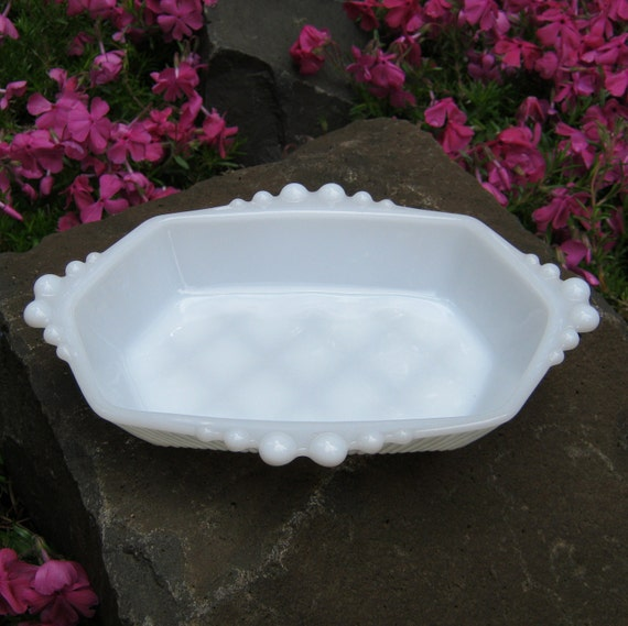 Beaded Milk Glass Soap Dish Trinket Dish - Vanity Mini Tray - Oak Hill Vintage