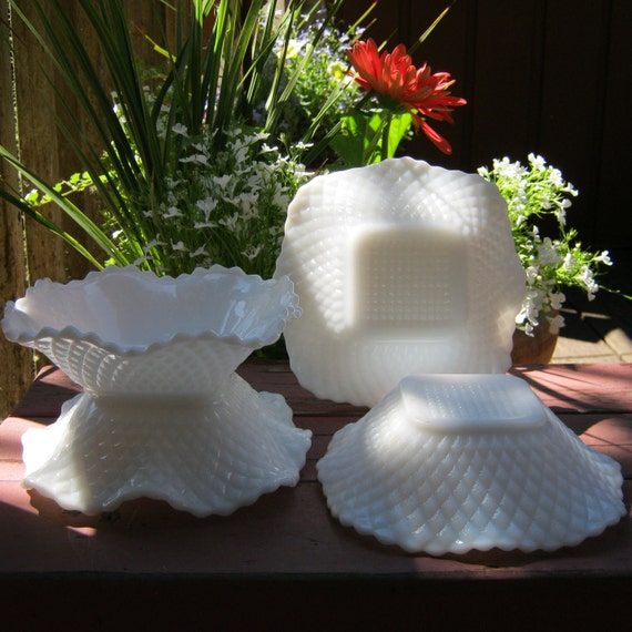 Four Square White Milk Glass Dishes With Ruffled Edge - Oak Hill Vintage
