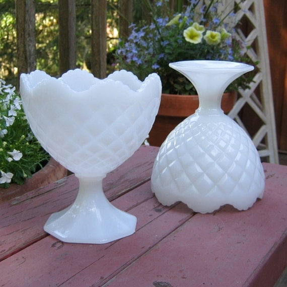 Pair of Diamond Cut Milk Glass Compotes With Sawtoothed Rims