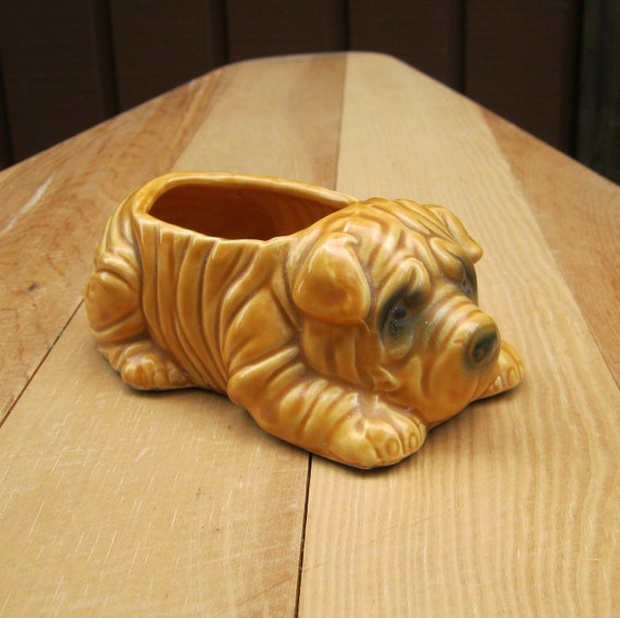 Shar Pei Wrinkle Dog Planter Made in Taiwan
