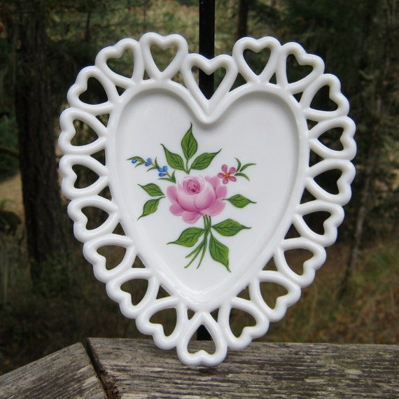 Westmoreland Milk Glass Heart Shaped Dish Hand Painted Rose - Oak Hill Vintage