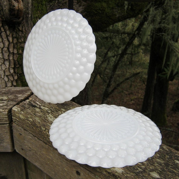 Pair of Milk Glass Bubble Dinner Plates