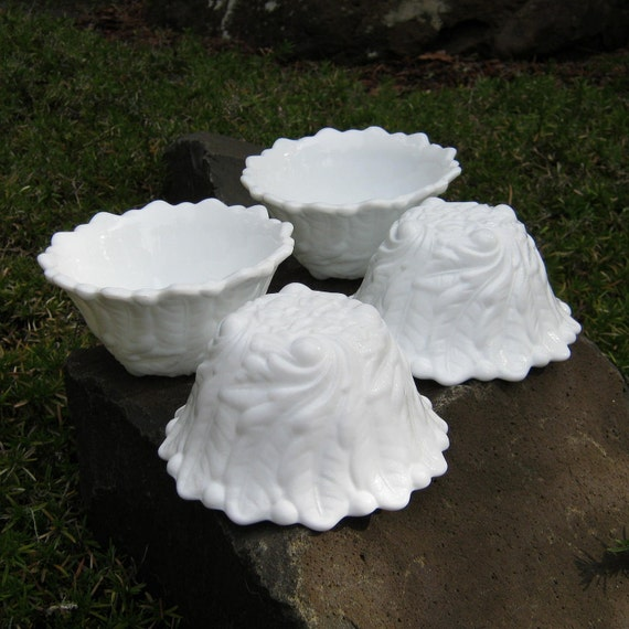 Four Milk Glass Sherbets in Wild Rose Design