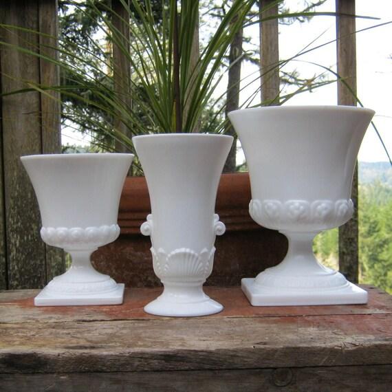 Set of Three White Milk Glass Vases Compotes