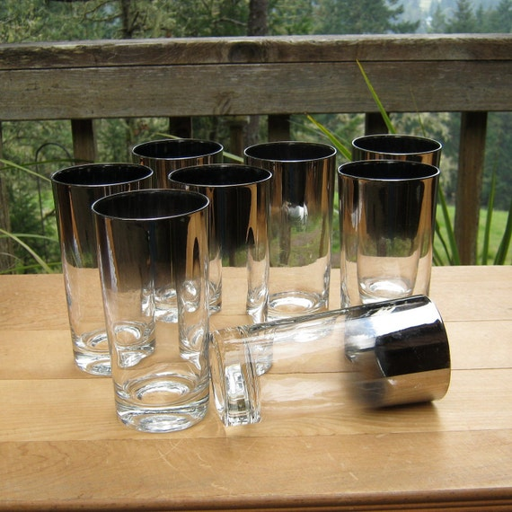 RESERVED for Venomena only - 8 Silver Rimmed Ombre Highball Glasses