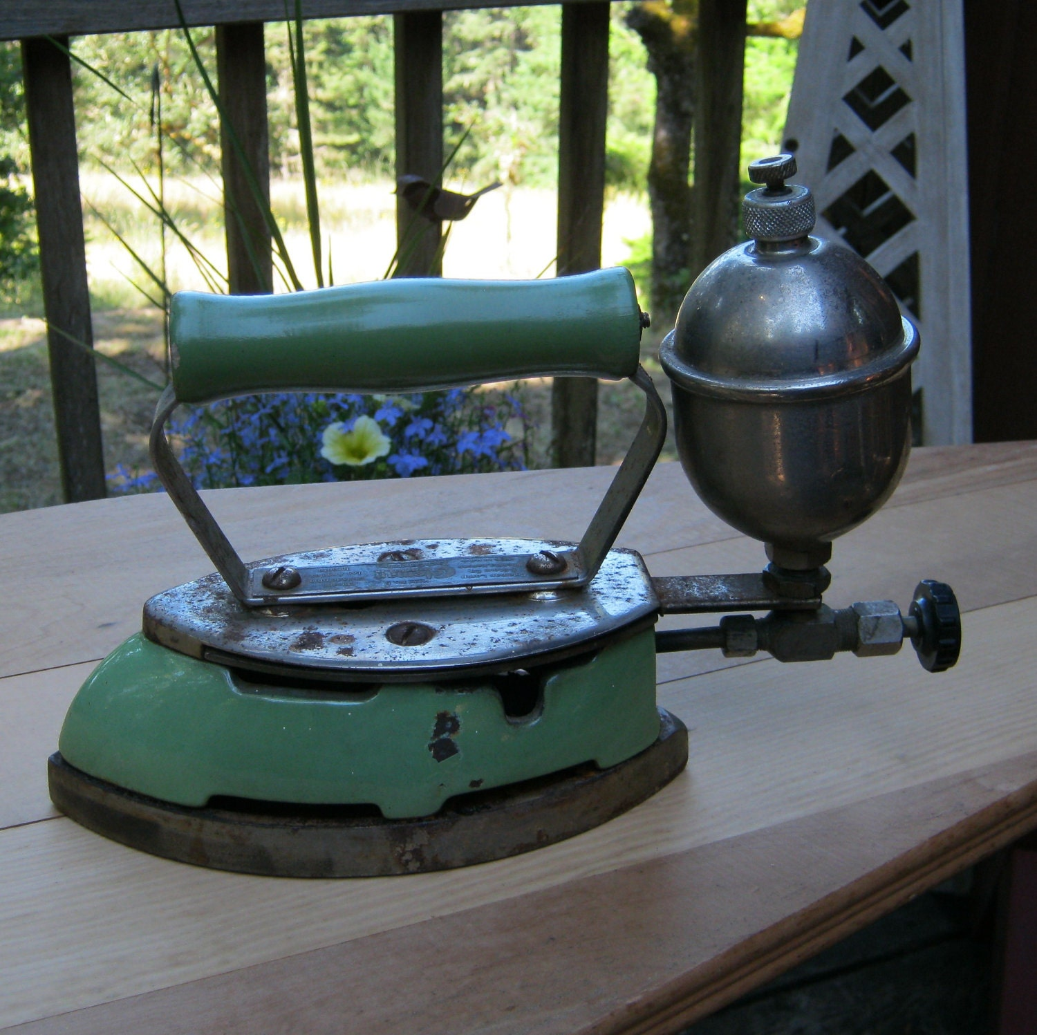 Old Steam Iron ~ Sale coleman antique gas steam iron with rare green enamel