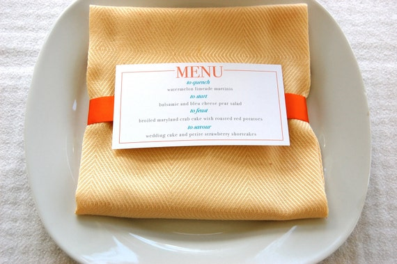 67 Best Images About Napkin Rings Menu Cards On: Items Similar To Wedding Menus Napkin Wraps On Etsy