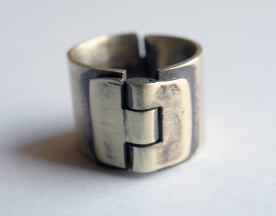Hinge Latch Ring, handcrafted in brass