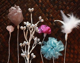 Fluffy Cabbage Rose, Filler Fabric Flower, Feather Stems and Berries, Bouquet Tutorials, diy Home Decor, diy Wedding Crafts, Rustic Weddings