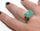 Exo-gem Cocktail Ring, Emerald Rectangle