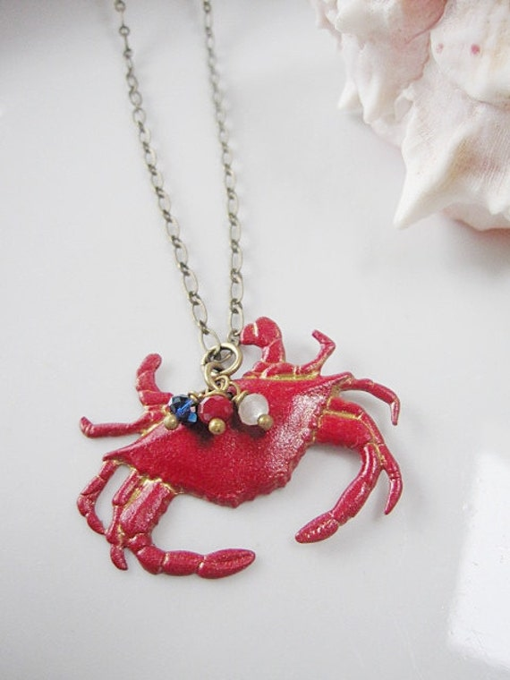 Red Crab Necklace with Red, White and Blue Crystals - 4 th of July - Patriotic Nautical Beach Jewelry