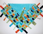Ribbon Tag Blankie with Pacifier Clip, Large 16 x 16 Whales and Turquoise Minky