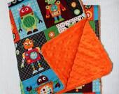 Robots Baby Blanket with Orange Minky