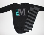 Baby Boy Initial and Guitar Bodysuit with Matching Black and Grey Stripes Leg Warmers - Long or Short Sleeve