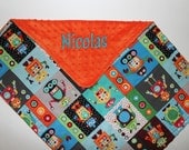 PERSONALIZED Robots Baby Blanket with Orange Minky