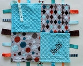 PERSONALIZED Ribbon Tag Sensory Blanket with Pacifier Clip Leash Minky Argyle and Polka Dots
